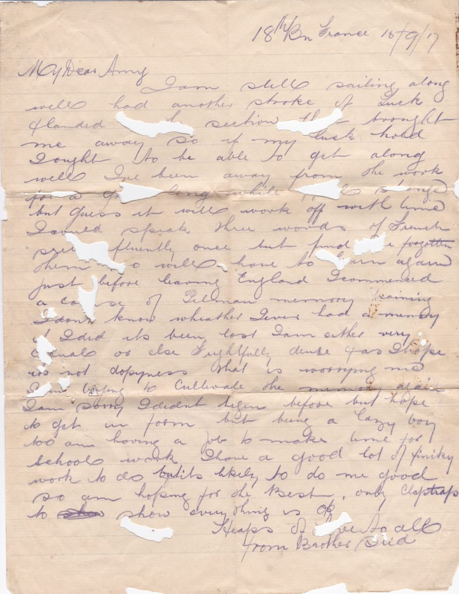 Letter from Stid France 1917